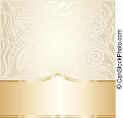 decorativo, dorato, spazio, vendemmia, bege, ecru, fondo, matrimonio, floreale, copia