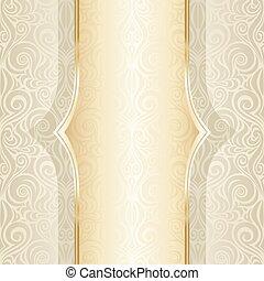 decorativo, dorato, spazio, vendemmia, bege, ecru, fondo, matrimonio, ornare, copia