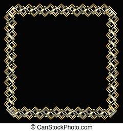 decorativo, dorato, stile, deco, arte, elegante, effect., cornice, lussuoso, fondo., quadrato, nero, ornare, disegno, stampato in rilievo, etichetta, bordo, 3d