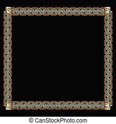 decorativo, dorato, stile, deco, arte, fondo., effect., cornice, insolito, etichetta, elegante, quadrato, nero, ornare, stampato in rilievo, lussuoso, bordo, disegno, 3d