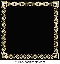 decorativo, dorato, stile, quadrato, arte, elegante, effect., cornice, lussuoso, fondo., deco, nero, ornare, disegno, stampato in rilievo, etichetta, bordo, 3d