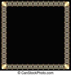 decorativo, dorato, stile, quadrato, arte, fondo., effect., cornice, insolito, etichetta, elegante, deco, disegno, ornare, nero, stampato in rilievo, lussuoso, bordo, 3d