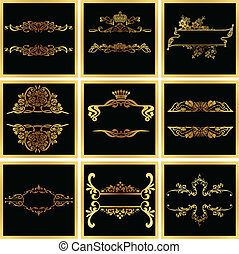 decorativo, dorato, vettore, ornare, cornici, quad