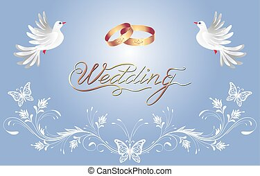 decorativo, dourado, congratulatório, inscrição, ornamento, anéis casamento, dois, saudação, caligraphic, convite, floral, pomba, ou, cartão, celebração