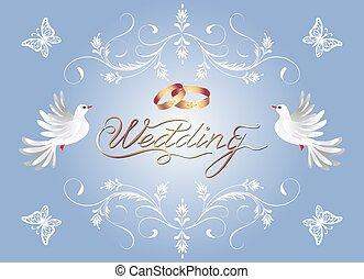 decorativo, dourado, congratulatório, quadro, ornamento, anéis casamento, dois, saudação, convite, floral, pomba, ou, cartão