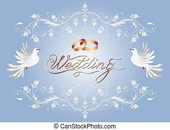 decorativo, dourado, congratulatório, quadro, ornamento, anéis casamento, dois, saudação, inscrição, caligraphic, convite, floral, pomba, ou, cartão, celebração