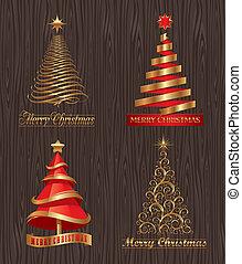 decorativo, dourado, jogo, -, árvores, vetorial, natal