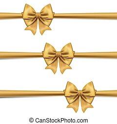 decorativo, dourado, jogo, presente, isolado, vetorial, arco, arcos, white.gold, horizontais, decor., fita