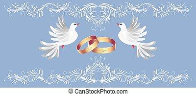 decorativo, dourado, quadro, ornamento, anéis, dois, saudação, floral, pomba, cartão
