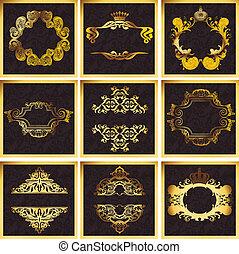 decorativo, dourado, vetorial, ornate, quad, bordas