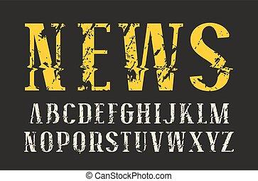 decorativo, efecto, distorsión, glitch, serif, fuente
