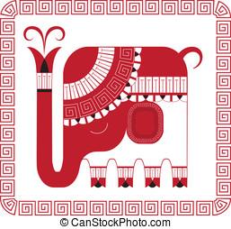 decorativo, elefant, indio, estilo