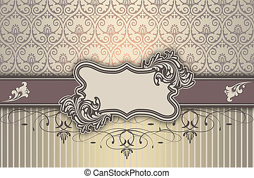 decorativo, elegante, marco, patterns., plano de fondo