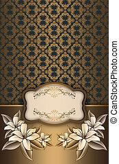 decorativo, elegante, plano de fondo, frame., oro