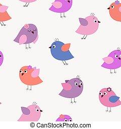 decorativo, elegante, seamless, patrón, con, rosa, aves