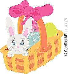 decorativo, elements., garabato, huevos, guirnalda, fondo., floral, blanco, pascua, marco