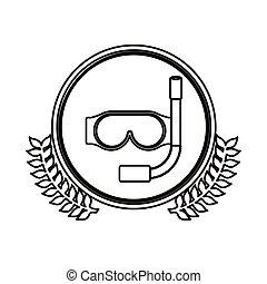 decorativo, equipamento, pretas, ramo, azeitona, círculo, contorno, snorkeling