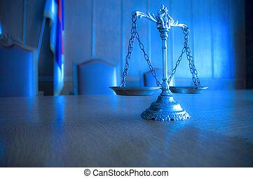 decorativo, escalas de la justicia, en, el, courtroom