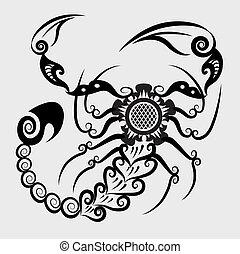 decorativo, escorpião