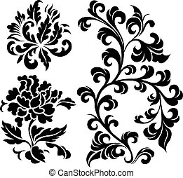 decorativo, espiral, planta, elemento