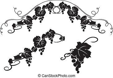 decorativo, estêncil, uva, elementos