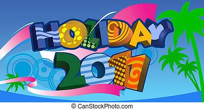 decorativo, estate, testo, vacanza, 2011, 3d