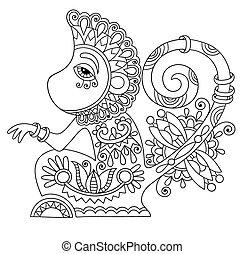 decorativo, estilo, arte, mono, ucranio, étnico, dibujo ...