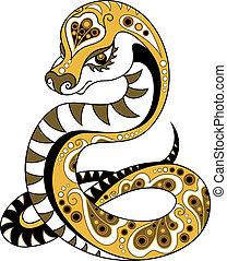 decorativo, estilo, serpiente