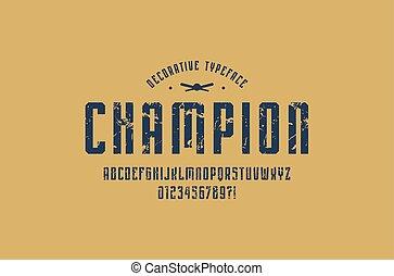 decorativo, estrecho, sin, serif, fuente, en, deporte, estilo