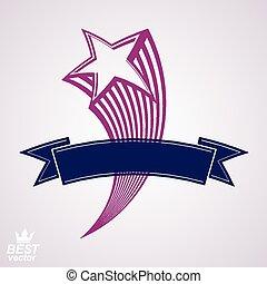 decorativo, estrella, vuelo, cometa, 3d