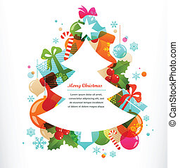 decorativo, etiquetas, elementos, árbol, navidad