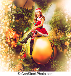 decorativo, fada, mulher, bola natal