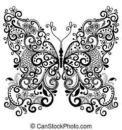 decorativo, fantasía, mariposa
