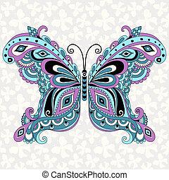 decorativo, fantasia, borboleta, vindima