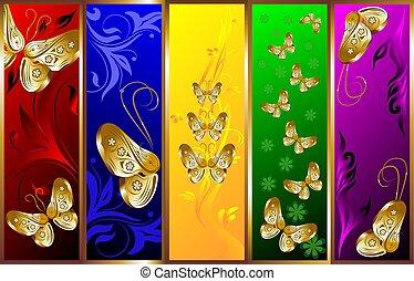 decorativo, farfalle, fondo