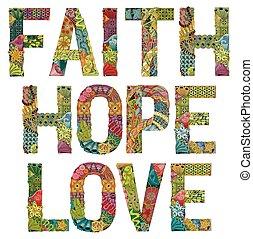 decorativo, fe, love., objeto, vector, palabras, zentangle, ...