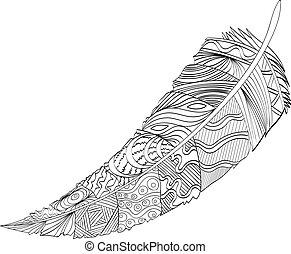 decorativo, feather., zentangle