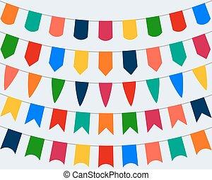 decorativo, festivo, collezione, fondo, bandiere, bianco, vacanza