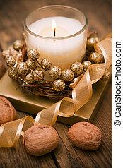 decorativo, festivo, velas, ligado, a, t
