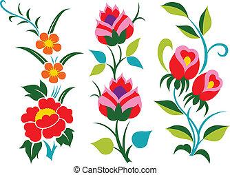 decorativo, fiore, cartone animato, elemento