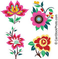 decorativo, fiore, emblema
