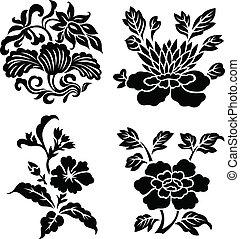 decorativo, fiore, rotolo