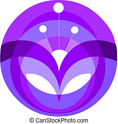 decorativo, fiore viola, elemento, vettore, illustrazione