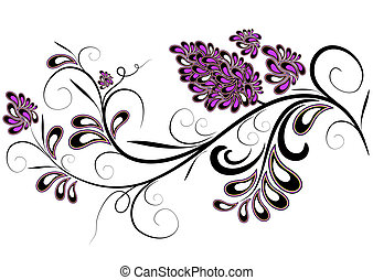 decorativo, flor, ramo, lilás