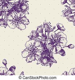decorativo, flora, modello, seamless, flowers., vettore, magnolie