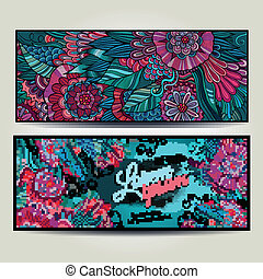 decorativo, floral, abstratos, vetorial, backgrounds.