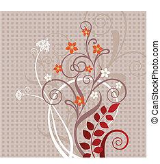 decorativo, floral, cartão cumprimento