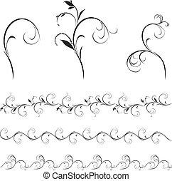decorativo, floral, conjunto, elementos