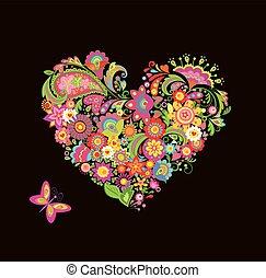 decorativo, floral, forma, coração
