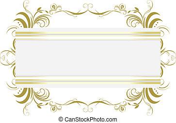 decorativo, floral, frame., título